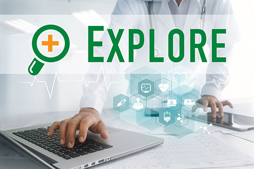 Explore Plus Logo and a Digital Health Icons