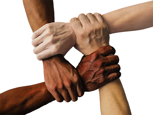 Four hands holding together, different skin colors